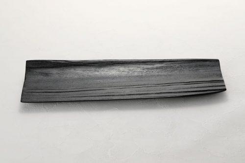拭漆 黒 スギ材 長皿