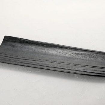 拭漆 黒 スギ材 長皿参考①
