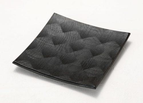 拭漆 黒 ナラ材 六寸角皿