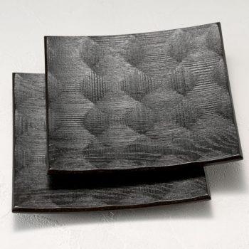 拭漆 黒 ナラ材 六寸角皿参考①