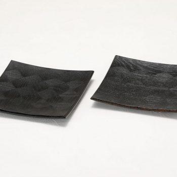 拭漆 黒 ナラ材 六寸角皿参考②